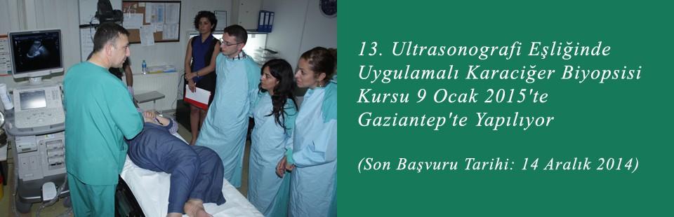 13 Ultrasonografi Eşliğinde Uygulamalı Karaciğer Biyopsisi Kursu 9 Ocak 2015′te Gaziantep'te Yapılıyor