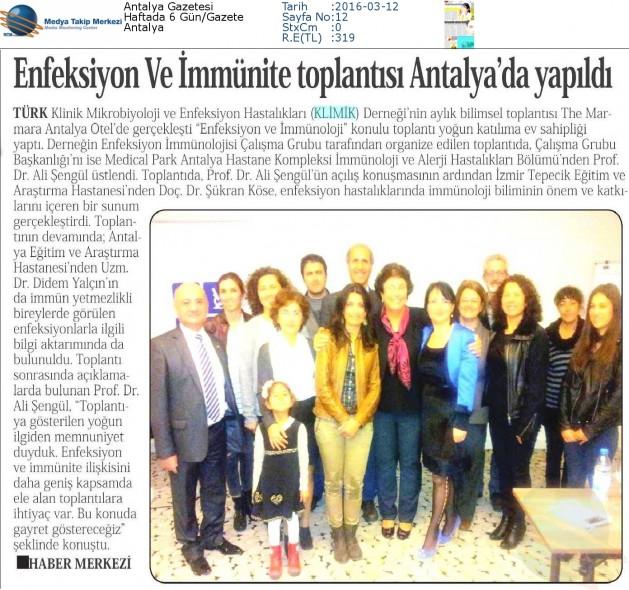 Antalya_Gazetesi_12_Mart_2016 (ENFEKSİYON_VE_İMMÜNİTE_TOPLANTISI_ANTALYA_DA_YAPILDI)