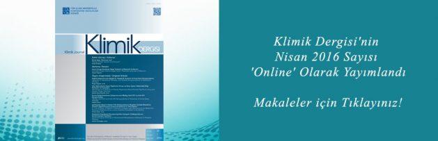 Klimik Dergisi'nin Nisan 2016 Sayısı 'Online' Olarak Yayımlandı