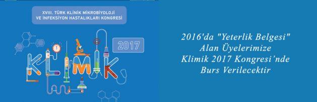 2016'da Yeterlik Belgesi Alan Üyelerimize Klimik 2017 Kongresi Bursu